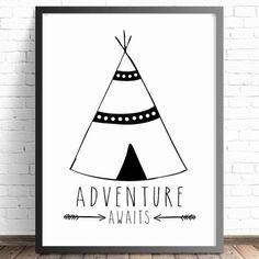 Nursery Wall Art Print. Tribal Teepee Adventure Awaits. Boys bedroom decor. Monochrome nursery. Arrow nursery wall art print. Kids decor. Shop online Australia.