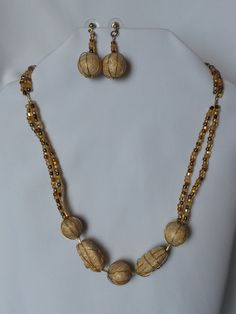 Beige Double Beaded Necklace & Earrings Set by CreationsbyJF on Etsy
