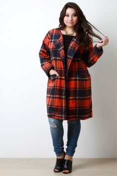Plaid Wool Pocketed Open Front Trench Coat