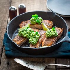 Easy Salmon With Avocado And Basil Recipe Main Dishes with coconut oil, coarse kosher salt, italian seasoning, crushed red pepper, ground black pepper, salmon fillets, avocado, basil, lime juice, scallions