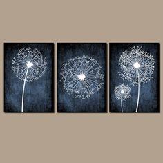 DANDELION Wall Art Prints Flower CANVAS Black White by TRMdesign