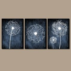 DANDELION Wall Art Prints Flower CANVAS Black White by TRMdesign