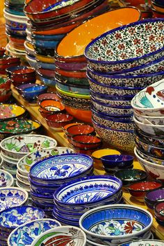 beautiful hand-decorated bowls from the Grand Turkish Bazaar