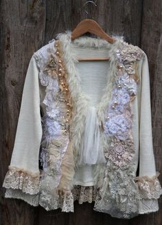 d045c999fb8084 RESERVED--White magic--artful ornate bohemian cardi
