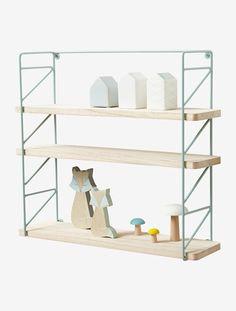 Etagère métal et bois 3 niveaux - Rose/bois+vert - 3