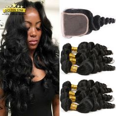Find More Human Hair Weft with Closure Information about 8A Brazilian Loose Wave…