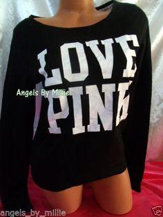 New Victoria's Secret Pink M Black White Lightweight Signature Crew Sweatshirt 1 | eBay