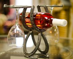 Lucky HorseShoe Wine and Glass Rack Rustic Wine by BarbieTheWelder