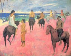Paul Gauguin.  Reiter am Strand. 1902, Öl auf Leinwand, 73 × 92 cm. Privatsammlung. Synthetismus. Frankreich. Postimpressionismus.  KO 01449
