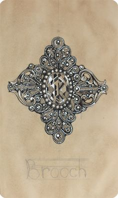 Jewelry Sketch by Elena Limkina: Antique Brooch. Ink Drawing