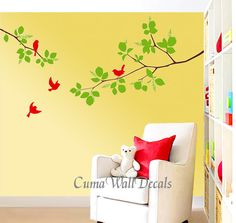 Vinyl wall decals branch wall sticker birds tree wall mural nursery children wall decal- branches tree and birds Z118 by CUMA $39