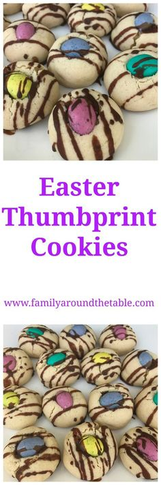 Easter M&M Thumbprint Cookies #EasterRecipes • Family Around the Table
