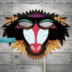 Printable Baboon Monkey Mask - Shades of Every Color Musical Rey Leon, Lion King Musical, Easy Halloween Costumes, Halloween Diy, Mardi Gras, Lion King Play, Peacock Mask, King Craft, Lion King Costume