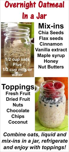 Overnight Oatmeal in a Jar - easy recipe for quick and healthy breakfast all week long!