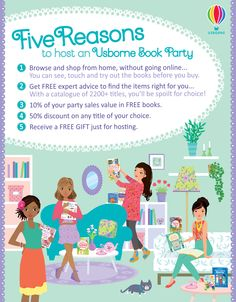 There are lots of great reasons to host an Usborne Book Party this month. Find out why and Book a Facebook Party today! http://www.DaniellesBooks.com