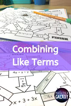 Combining Like Terms Activity (Distance Learning) Math Teacher, Math Classroom, Maths, Math Skills, Math Lessons, Combining Like Terms, 8th Grade Math, Math Practices, Math Concepts