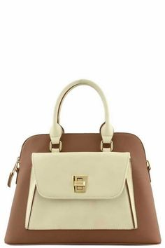 Two Tone Front Turning Lock Top Handle Designer Bag