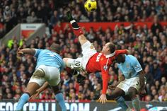 Wayne Rooney scores with a bicycle kick against Manchester City in 2011 Manchester United Goal, Manchester Derby, Manchester City, Football Talk, Best Football Team, Football Fever, Wayne Rooney Goal, Ronaldo, Man Utd Squad