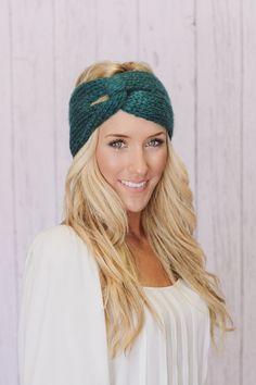 Knitted Headband Teal Turband Mohair Ear Warmer in Green (HBK2). $28.00, via Etsy.