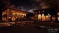 Stunningly lit night-time visual of a beautiful villa