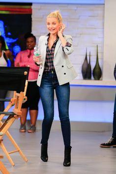 cameron diaz current elliott jeans Cameron Diaz in Current/Elliott High Waist Ankle Skinny Jeans in Townie