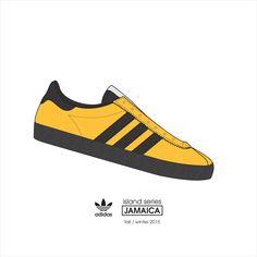 ADIDAS - Jamaica, island series - fall / winter 2015 . #kicks #illustration #adidasoriginal #adidas #adidasjamaica #adidasislandseries Adidas Og, Adidas Retro, Adidas Sneakers, Adidas Fashion, Mens Fashion, Jamaica Island, Shoes Vector, Sneaker Posters, Adidas Spezial