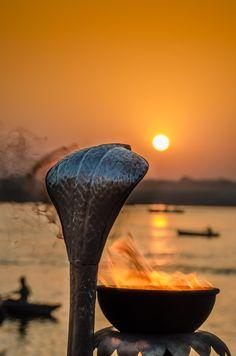 Ganges at sunset, Varanasi, India