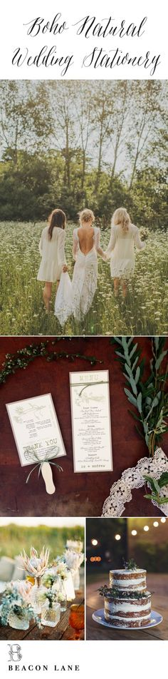 Boho Style Wedding Inspiration By Beacon Lane. See More Boho Paper Goods Here: http://www.beaconln.com/shop/boxed/moss-tree-wedding-invitations-2/