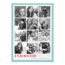 Year in Review 12 Photo Collage Holiday Photocard 5x7 Paper Invitation Card