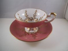Vintage Aynsley Footed Pedestal Teacup Tea Cup Saucer Pink Gold England | eBay