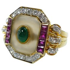 Rock Crystal Emerald Diamond Gold Ring | From a unique collection of vintage fashion rings at https://www.1stdibs.com/jewelry/rings/fashion-rings/