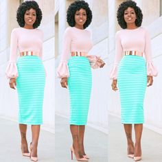 - Folake Huntoon (@stylepantry) Bell Sleeve Top x @loft324 Pencil Skirt.