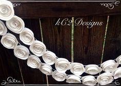 Paper Flower Garland. White wedding garland. by kC2Designs