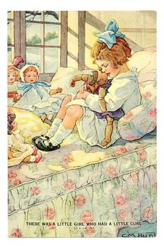 """:There Was a Little Girl Wha Had a Little Curl"""" ~ Clare M. Burd, ca. 1930s. with a doll"""