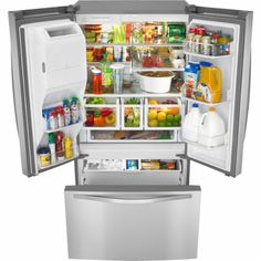 Whirlpool Refrigerator-French refrigerator door, the convenience of a bottom-freezer with a side-by-sides smart doors. Top Freezer Refrigerator, Cool Things To Buy, Kitchen Appliances, Stainless Steel, Doors, Home, Specs, Bar