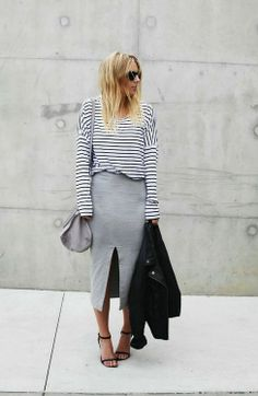 Stripes and grey marle.