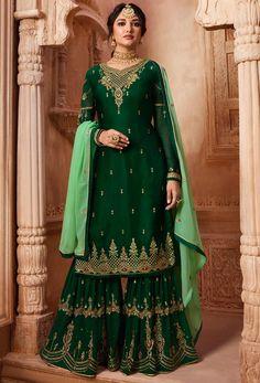 Shop dark green satin,georgette pakistani sharara suit , freeshipping all over the world , Item code Indian Fashion Salwar, Indian Fashion Modern, Latest Indian Fashion Trends, Muslim Fashion, Punk Fashion, Pakistani Sharara, Pakistani Dresses, Indian Dresses, Pakistani Suits