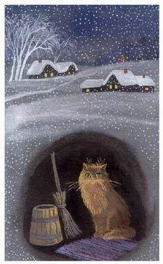 Winter cat painting. Tatyana Rodionova http://www.catsfineart.com/html/winter_cats.html