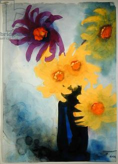 Violet and Yellow Dahlias in a Blue Vase (w/c on paper)