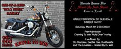 "Are you ready to throw the horns up with us?! One lucky winner will be taking home this killer looking & street shredding ""Holy Diver"" Harley-Davidson FXDB. This is the ONLY one in existence. We hope to see you on March 5th for our FREE Street Party here at the shop! Tell your friends wink emoticon Raffle tickets available for purchase at http://diocancerfund.3dcartstores.com/Raffle-Ticket_p_34.html"