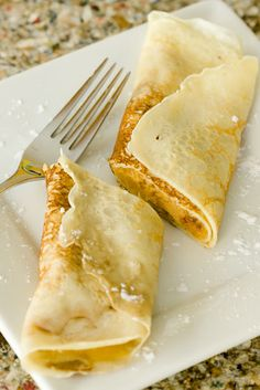 Pumpkin Pie Crepes! Use pre-made crepes and add the filling if you have a fear of making crepes like I do ;-)