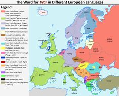 "The word for ""war"" in different European languages. More word maps >> Word Map, Modern Words, European Languages, Historical Maps, Prehistory, World Cultures, Data Visualization, World History, Charts"