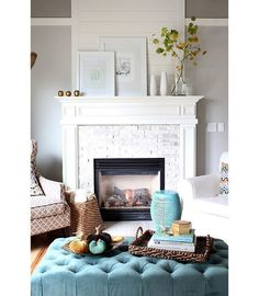 Decorating Ideas For Living Room With Fireplace living room with colorful fireplace surround