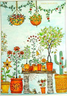 Picture from Johanna Basford Secret Garden Postcards; Colouring: Anja Meurer