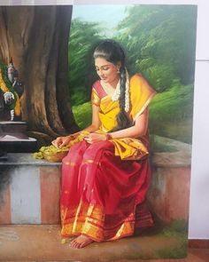 Story of Oil Color, structured oil painting workshop in Hyderabad by Elayaraja for beginners & intermediates who love to pursue oil color painting. Indian Women Painting, Indian Paintings, Indian Art, Fine Arts School, Village Photos, Live Model, India Culture, Traditional Paintings, Woman Painting