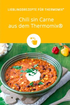 Würziges Chili sin Carne – Rezept für den Thermomix® – Famous Last Words Easy Stovetop Chili Recipe, Best Chili Recipe, Crockpot Recipes, Vegetarian Chili Easy, Vegetarian Recipes, Chili With Stew Meat, Clean Eating Chili, Chili Sin Carne, Ground Beef Recipes Easy