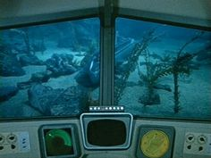 View of Voyage to the Bottom of the Sea submarine Seaview, from the window of the Flying Sub. The Flying Sub debuted in the second season of the TV series.