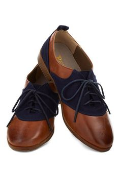 Reading Room Romance Flats by Restricted - Brown, Blue, Vintage Inspired, Menswear Inspired, Low, Leather, Faux Leather