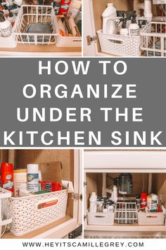 How to Organize Under the Kitchen Sink. Learn about eco friendly cleaning products and how to organize your fav cleaning supplies! Under Kitchen Sink Organization, Under Kitchen Sinks, Kitchen Buffet, Modern Kitchen Cabinets, Pantry Organization, Organizing Ideas, Cleaning Supply Organization, Organize Cleaning Supplies, Organized Kitchen