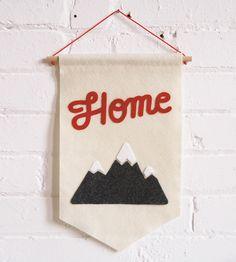 Home & Mountains Felt Banner by Allison Cornu on Scoutmob